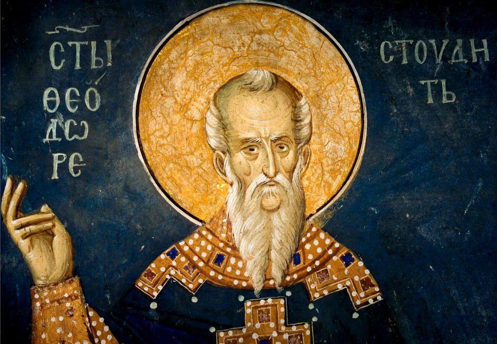 Святой Преподобный Феодор Студит, Исповедник. Фреска монастыря Высокие Дечаны, Косово и Метохия, Сербия. До 1350 года.