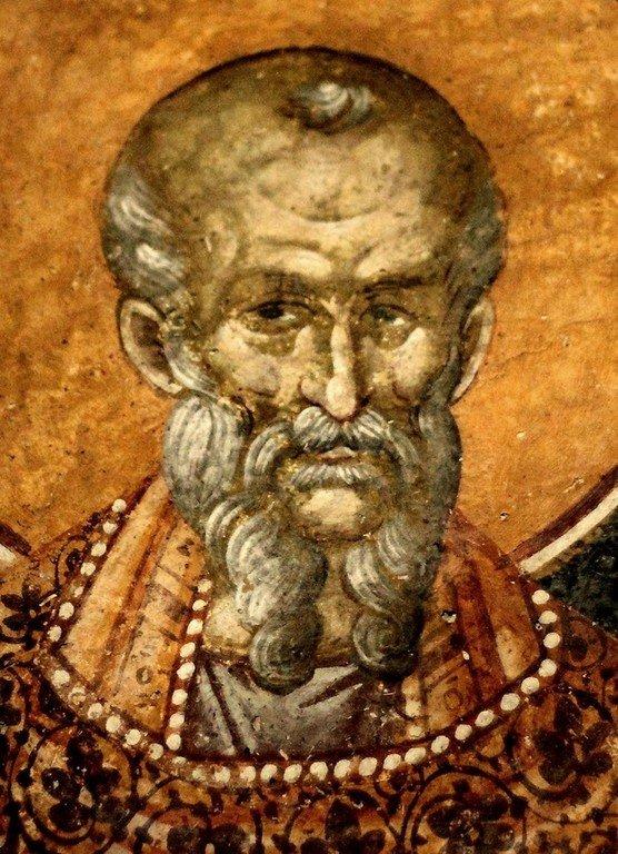 Святой Преподобный Феодор Студит, Исповедник. Фреска монастыря Грачаница, Косово и Метохия, Сербия. Около 1320 года.