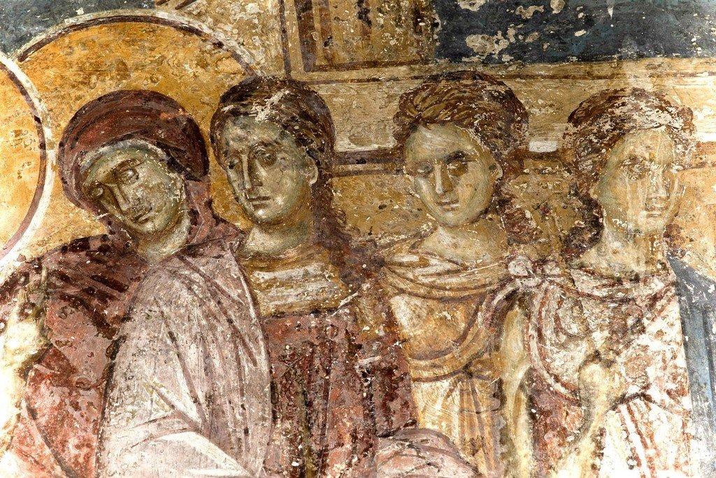 Введение во храм Пресвятой Богородицы. Фреска Белой церкви в селе Каран, Сербия. 1340 - 1342 годы. Фрагмент.