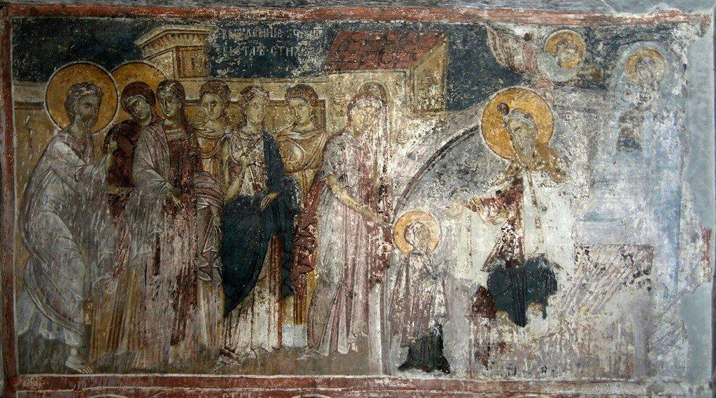 Введение во храм Пресвятой Богородицы. Фреска Белой церкви в селе Каран, Сербия. 1340 - 1342 годы.