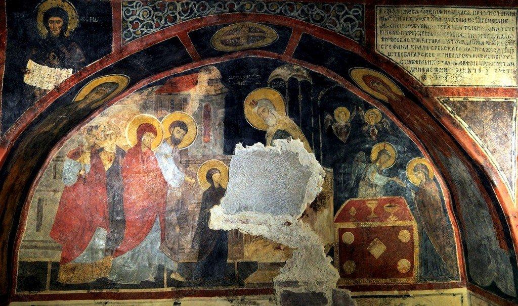 Введение во храм Пресвятой Богородицы. Фреска церкви Святых Николая и Пантелеимона (Боянской церкви) близ Софии, Болгария. 1259 год.