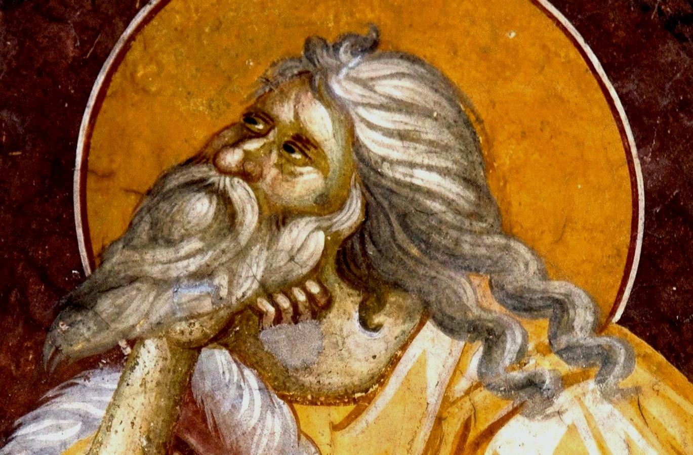 Святой Пророк Божий Илия в пустыне. Фреска монастыря Грачаница, Косово и Метохия, Сербия. Около 1320 года. Фрагмент.