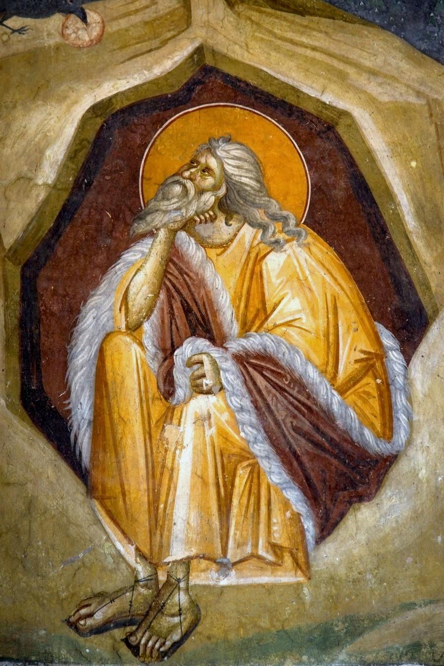 Святой Пророк Божий Илия в пустыне. Фреска монастыря Грачаница, Косово и Метохия, Сербия. Около 1320 года.