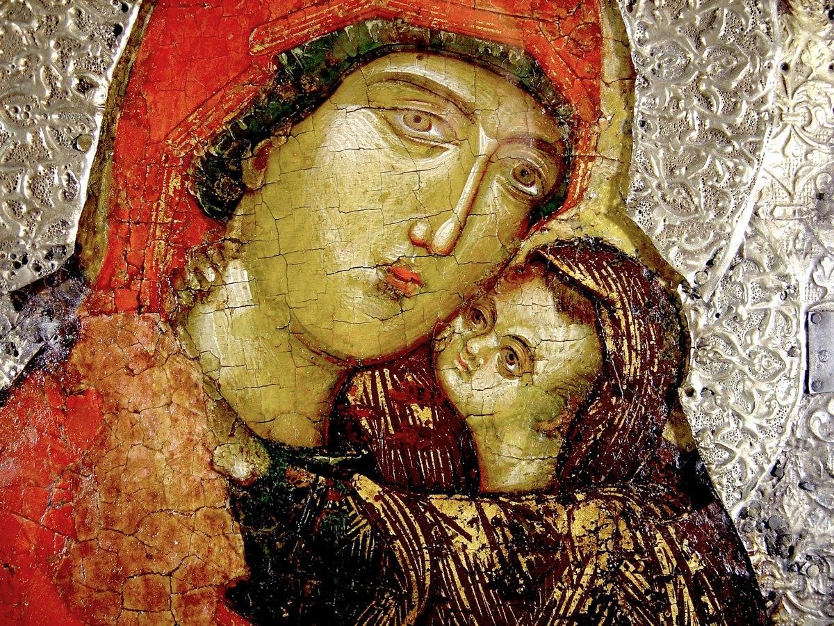 Святая Праведная Анна, мать Пресвятой Богородицы. Сербская икона XIV века. Сергиево-Посадский музей-заповедник. Фрагмент.