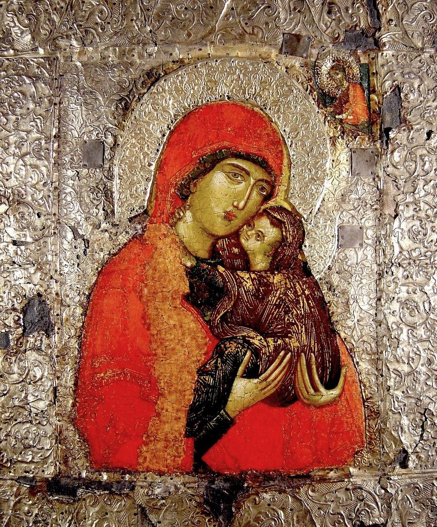 Святая Праведная Анна, мать Пресвятой Богородицы. Сербская икона XIV века. Сергиево-Посадский музей-заповедник.