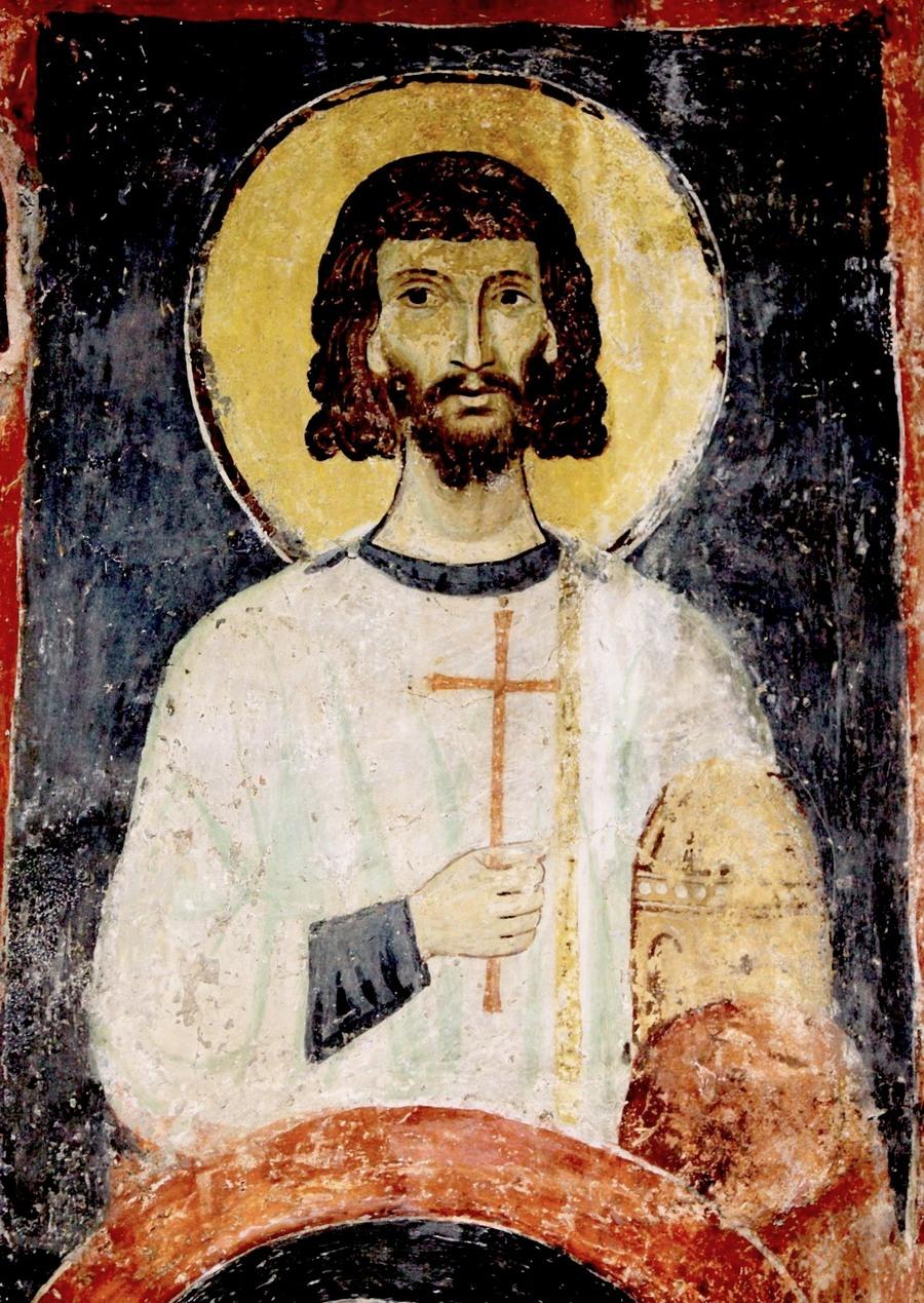 Святой Мученик Архидиакон Лаврентий. Фреска церкви Святых Николая и Пантелеимона (Боянской церкви) близ Софии, Болгария. 1259 год.