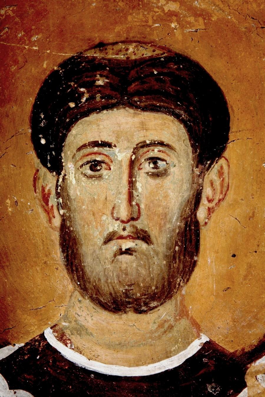 Святой Мученик Архидиакон Евпл. Фреска церкви Богородицы в монастыре Студеница, Сербия. 1208 - 1209 годы.
