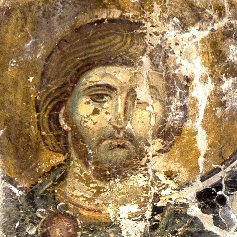 Святой Мученик Лавр Иллирийский. Фреска церкви Богородицы в монастыре Студеница, Сербия. 1568 год.