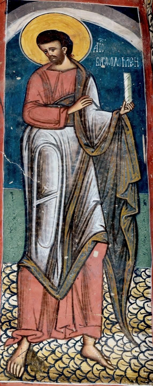 Святой Апостол Варфоломей. Фреска монастыря Молдовица, Северная Молдова, Румыния. 1537 год.
