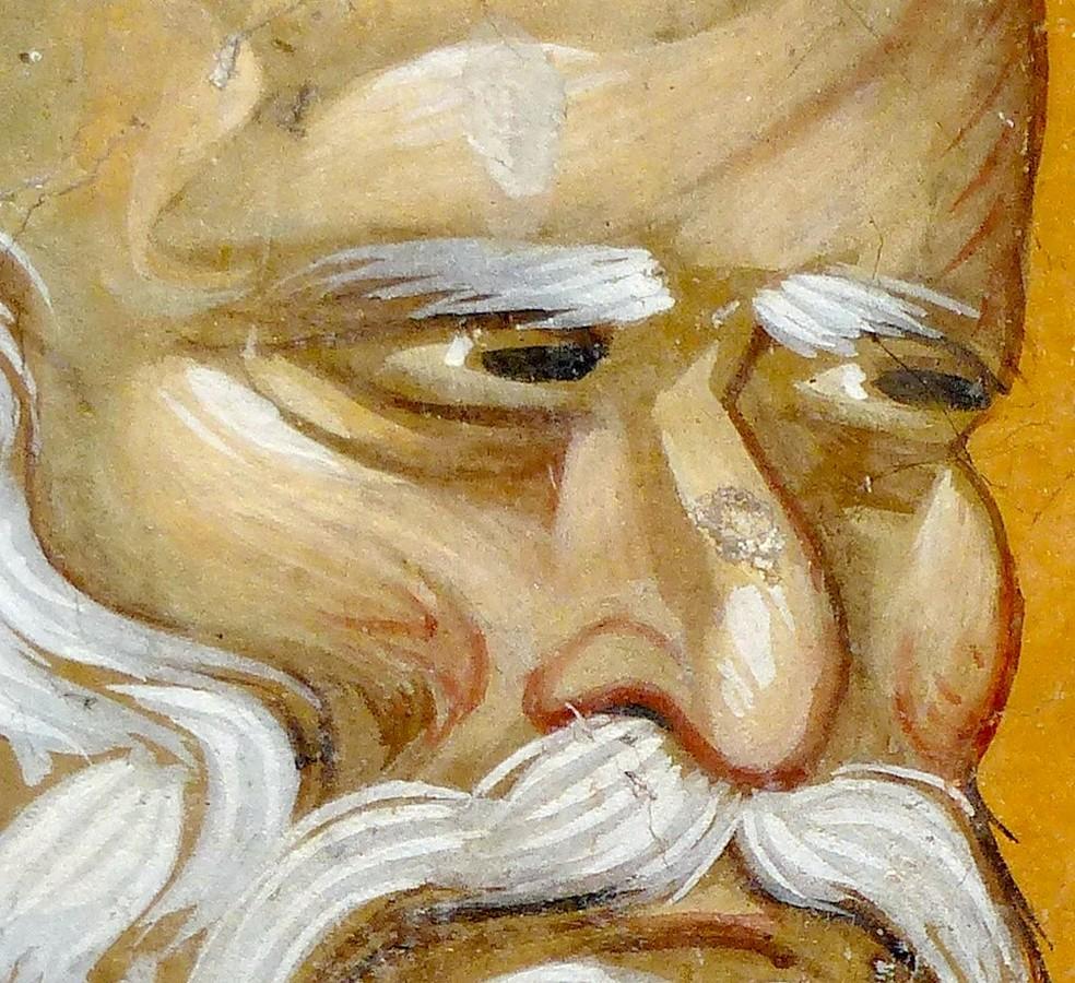 Святой Преподобный Пимен Великий. Фреска церкви Святого Георгия в Старо Нагоричино, Македония. 1316 - 1318 годы. Иконописцы Михаил Астрапа и Евтихий.