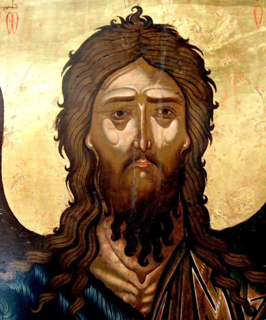 Святой Пророк, Предтеча и Креститель Господень Иоанн. Старинная болгарская икона. Лик.