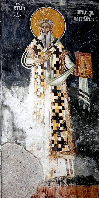 Святитель Спиридон, Патриарх Сербский. Фреска притвора монастыря Печская Патриархия, Косово и Метохия, Сербия. XVI век.