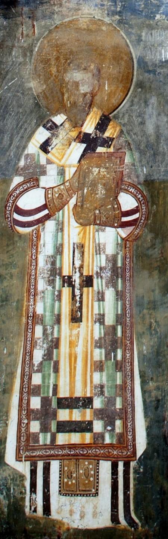 Святитель Иаков, Архиепископ Сербский. Фреска притвора монастыря Печская Патриархия, Косово и Метохия, Сербия. XVI век.