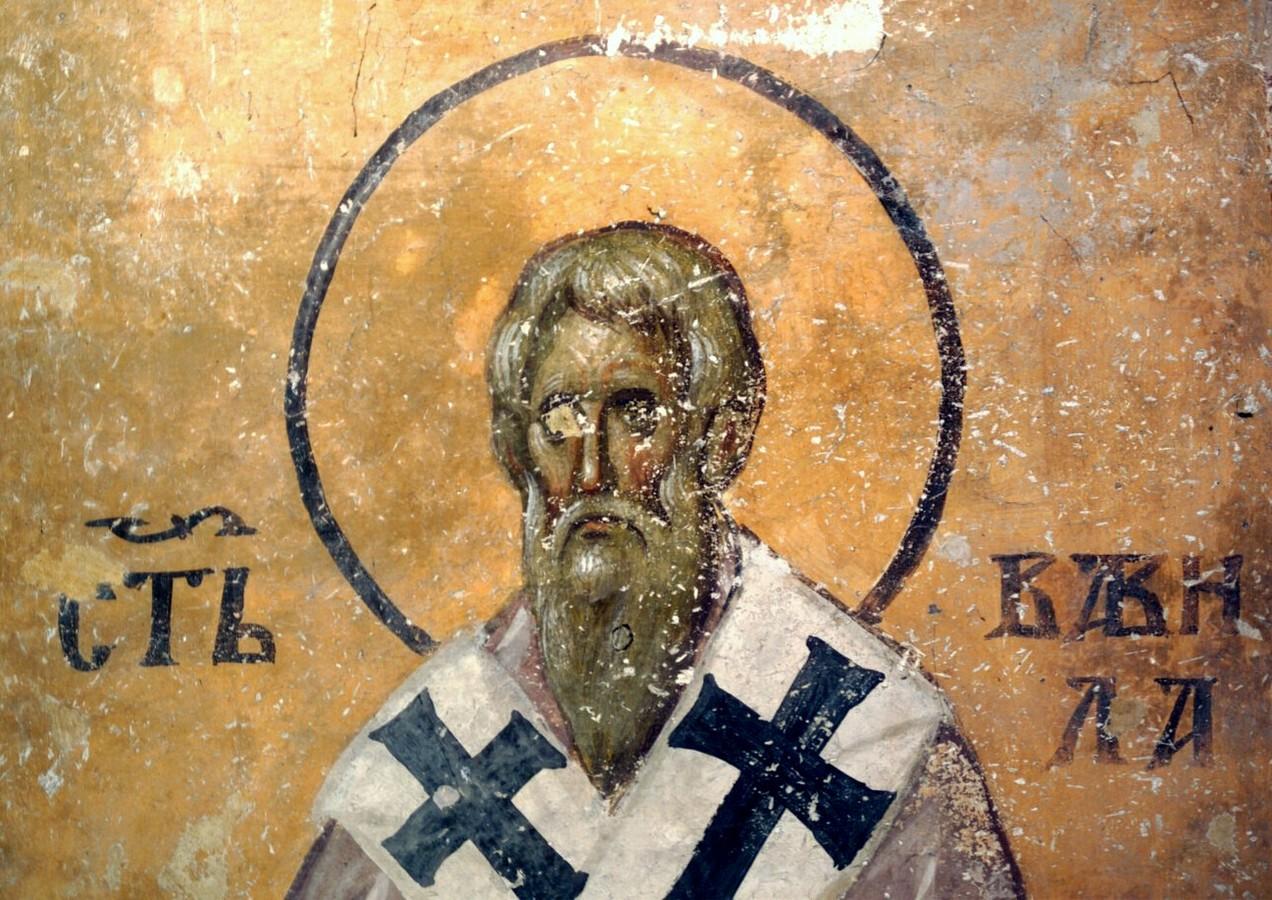 Священномученик Вавила, Епископ Антиохийский. Фреска церкви Святой Троицы в монастыре Сопочаны, Сербия. 1265 год.