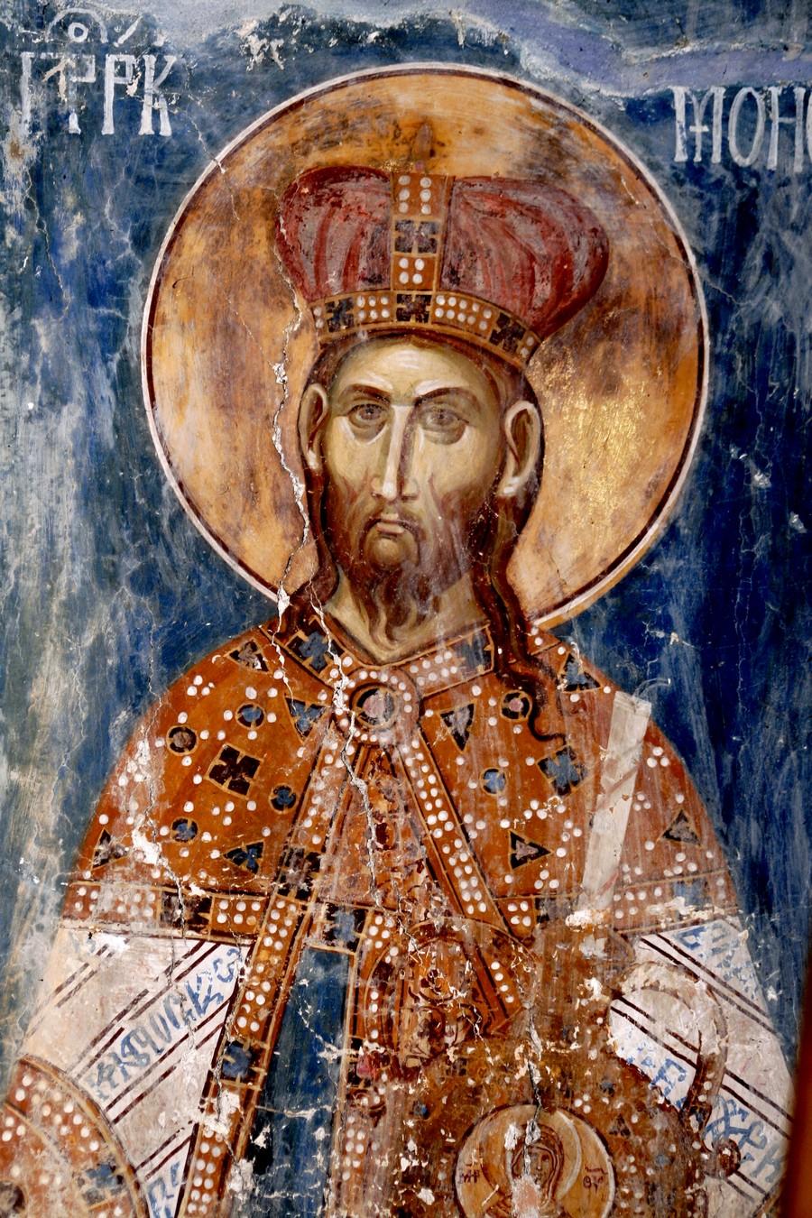Святой Пророк Моисей Боговидец. Фреска церкви Святого Димитрия в монастыре Печская Патриархия, Косово и Метохия, Сербия. 1322 - 1324 годы.
