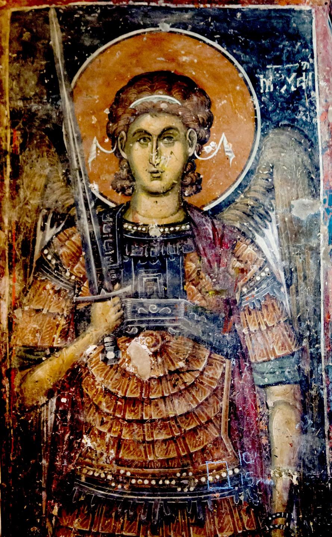 Архистратиг Михаил. Фреска церкви Святого Николая в монастыре Псача, Македония. 1365 - 1377 годы.
