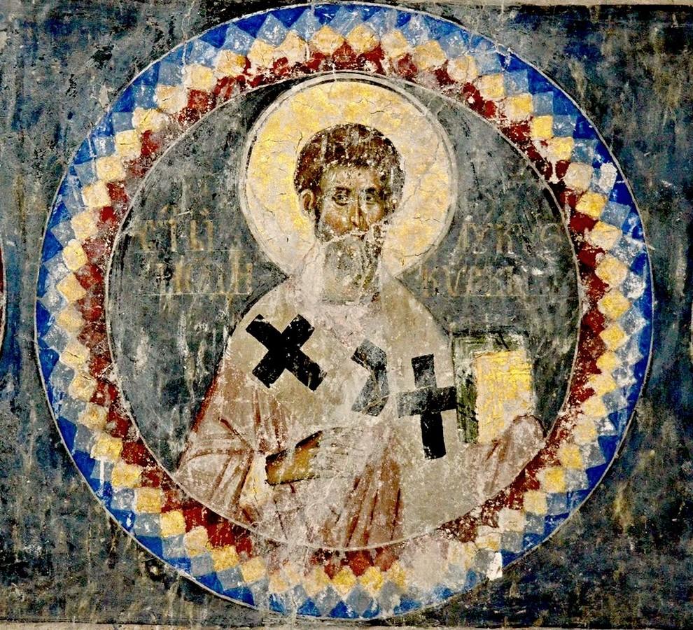 Святой Апостол от Семидесяти Лукий (Лука), Епископ Лаодикийский. Фреска церкви Святой Троицы в монастыре Манасия (Ресава), Сербия. До 1418 года.
