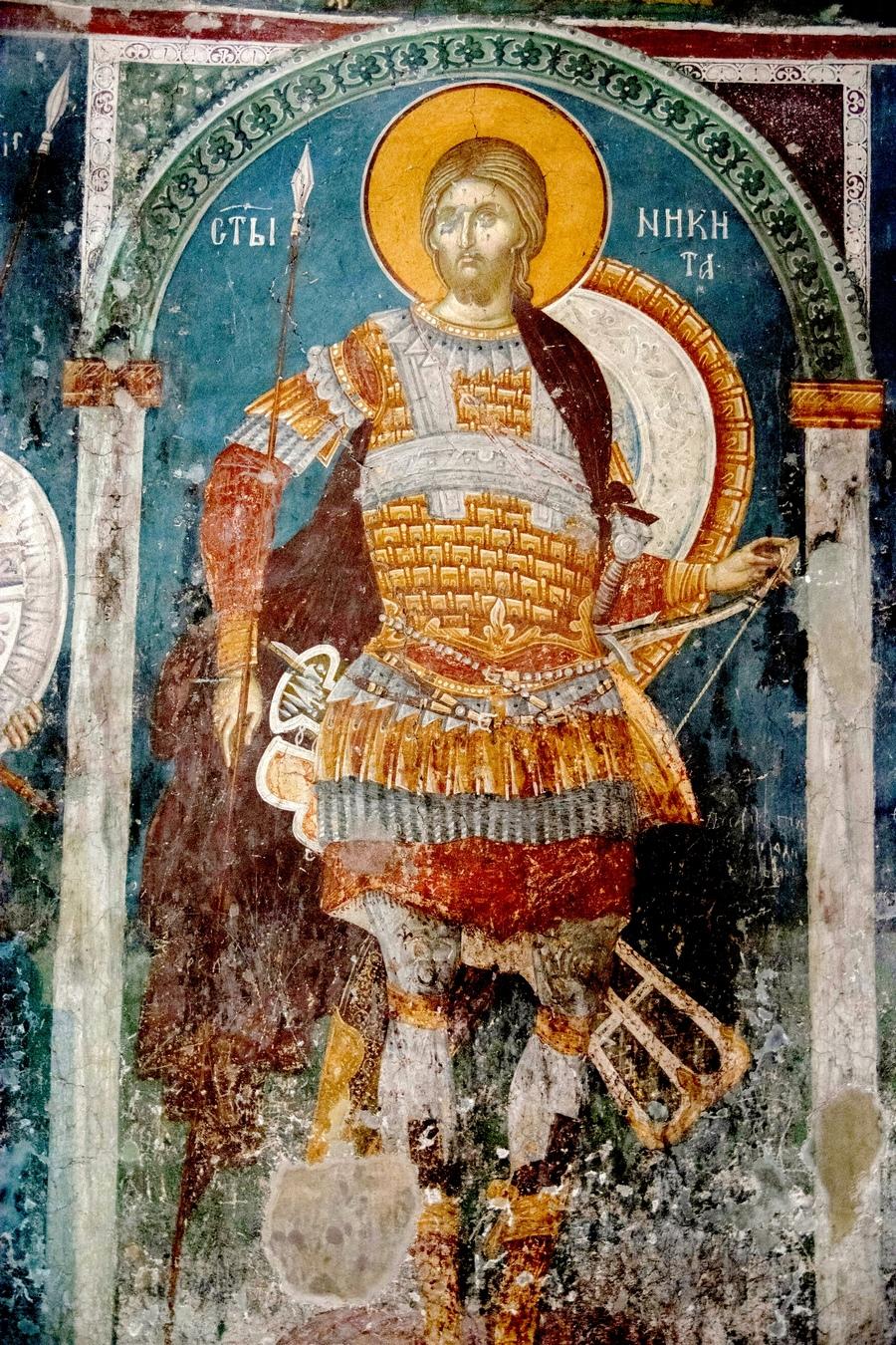 Святой Великомученик Никита Готфский. Фреска монастыря Святого Никиты в Чучере близ Скопье, Македония. Около 1316 года. Иконописцы Михаил Астрапа и Евтихий.