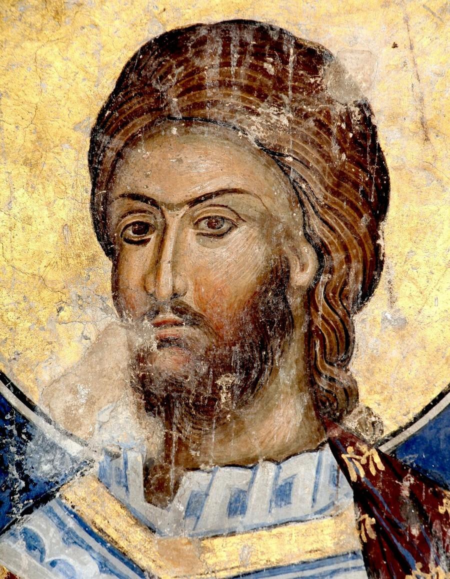 Святой Великомученик Никита Готфский. Фреска церкви Святой Троицы в монастыре Манасия (Ресава), Сербия. До 1418 года. Фрагмент.