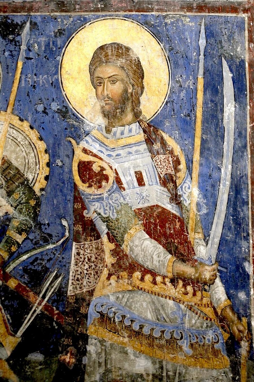 Святой Великомученик Никита Готфский. Фреска церкви Святой Троицы в монастыре Манасия (Ресава), Сербия. До 1418 года.
