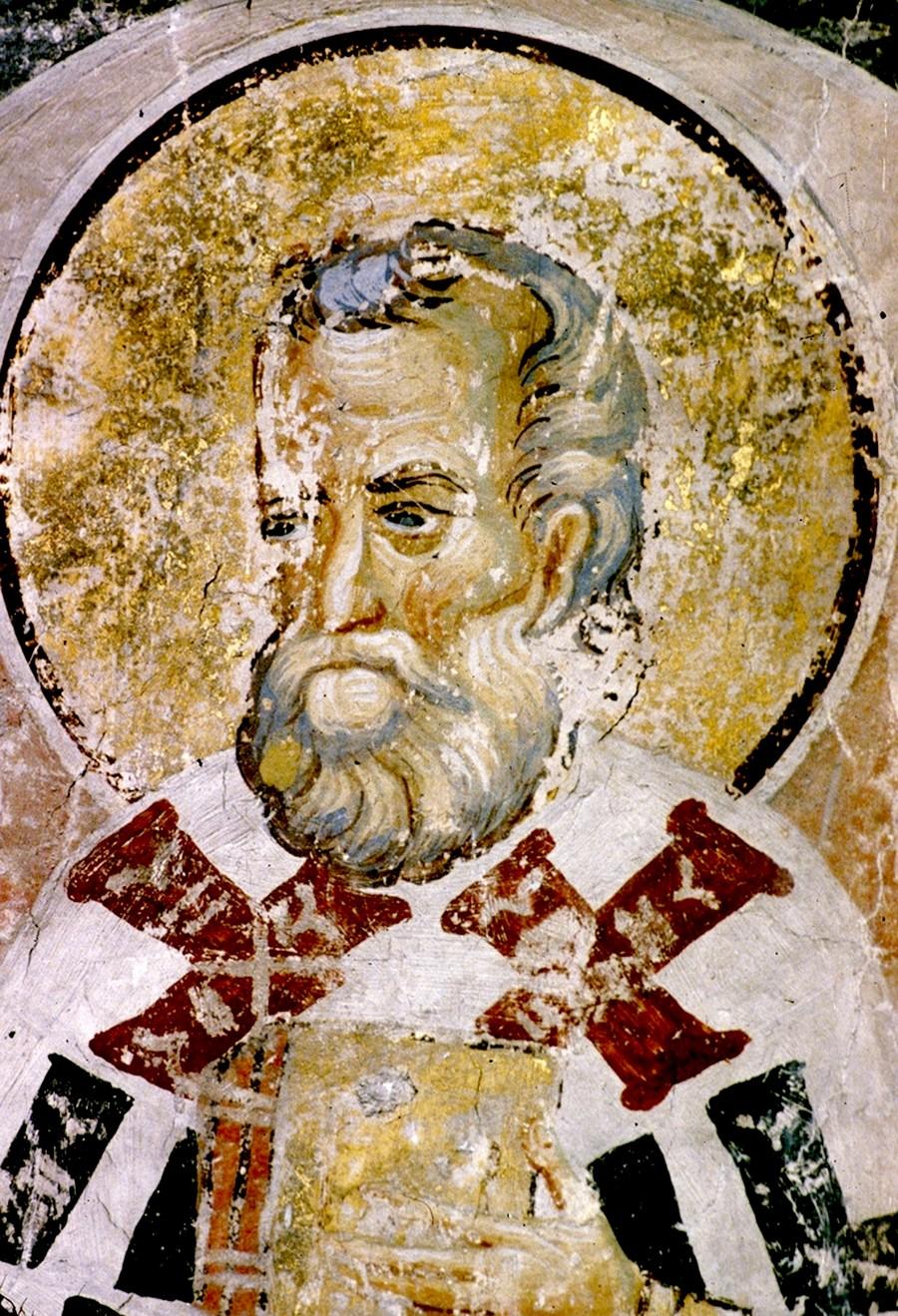 Святой Преподобный Евмений, Епископ Гортинский. Фреска церкви Вознесения Господня монастыря Раваница, Сербия. До 1389 года.