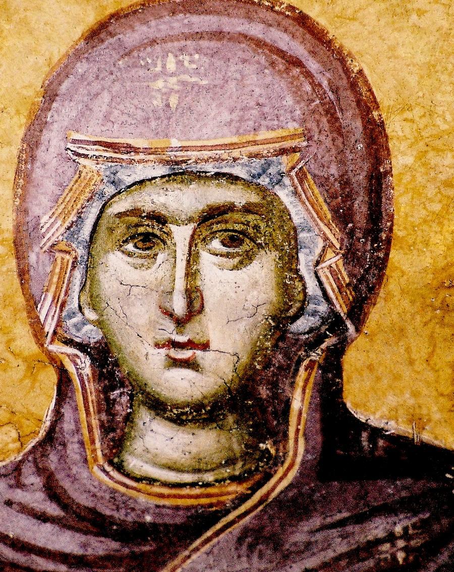 Лик Пресвятой Богородицы. Фреска монастыря Грачаница, Косово и Метохия, Сербия. Около 1320 года.