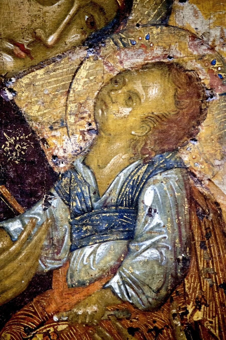 Мати Божия Молебница. Икона. Сербия, последняя четверть XIV века. ГТГ. Фрагмент.