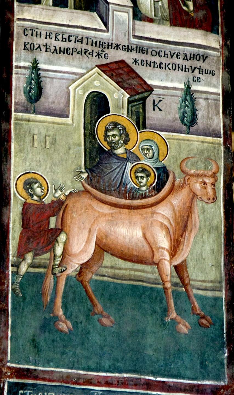 Мученичество Святых Евстафия Плакиды, жены его Феопистии и чад их Агапия и Феописта. Фреска монастыря Грачаница, Косово и Метохия, Сербия. Около 1320 года.