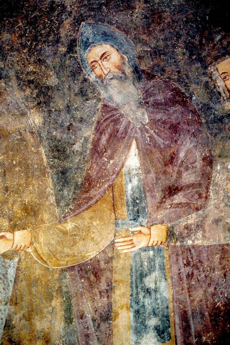 Святой Краль Стефан Первовенчанный - Преподобный Симон монах. Фреска церкви Святой Троицы в монастыре Сопочаны, Сербия. 1265 год.