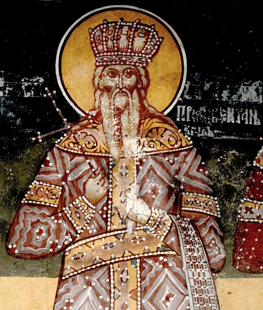 Святой Стефан Первовенчанный, Король Сербский. Фреска церкви Святых Апостолов в монастыре Печская Патриархия, Косово и Метохия, Сербия. 1633 - 1634 годы.