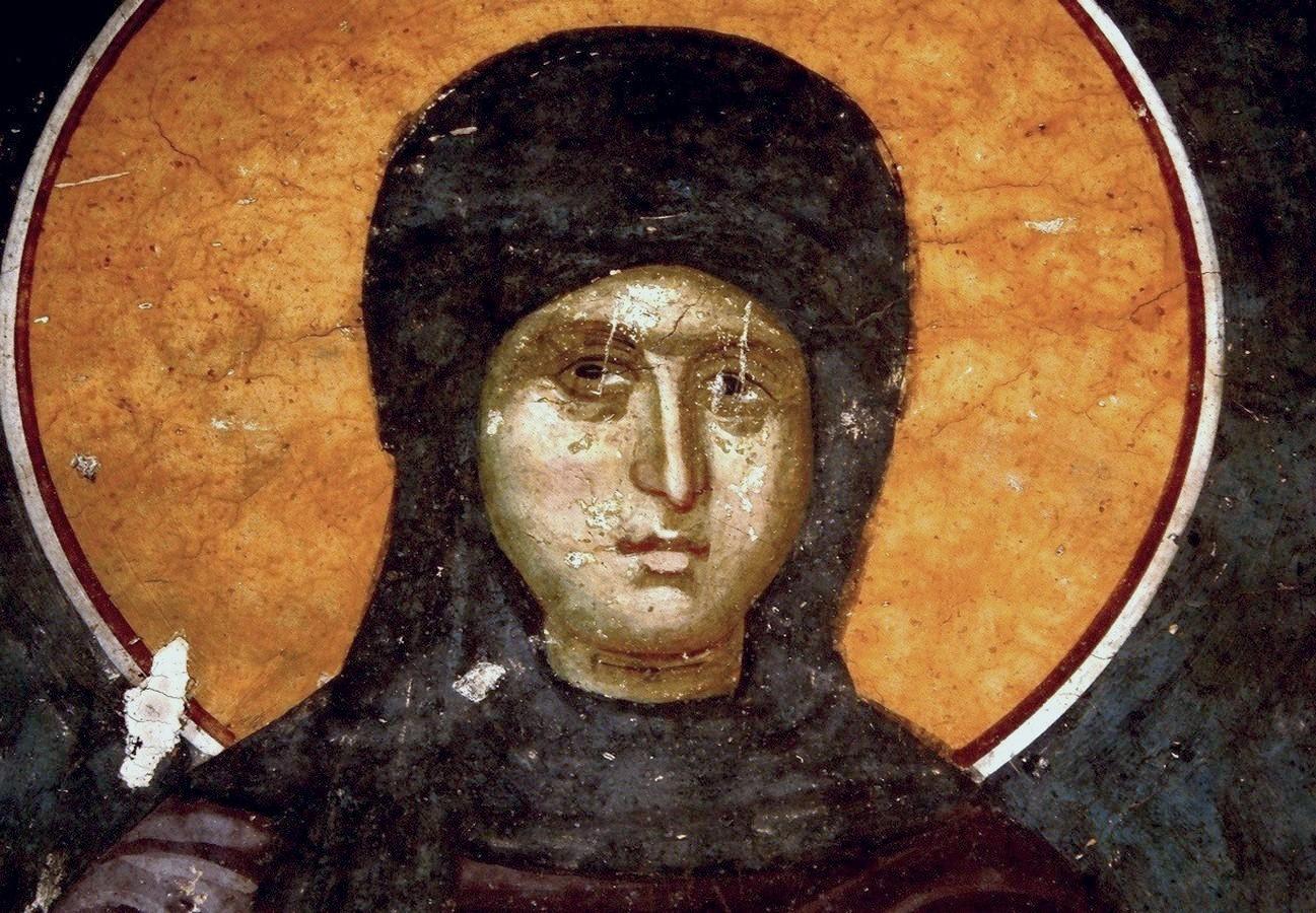 Святая Первомученица Равноапостольная Фекла. Фреска монастыря Грачаница, Косово и Метохия, Сербия. Около 1320 года.