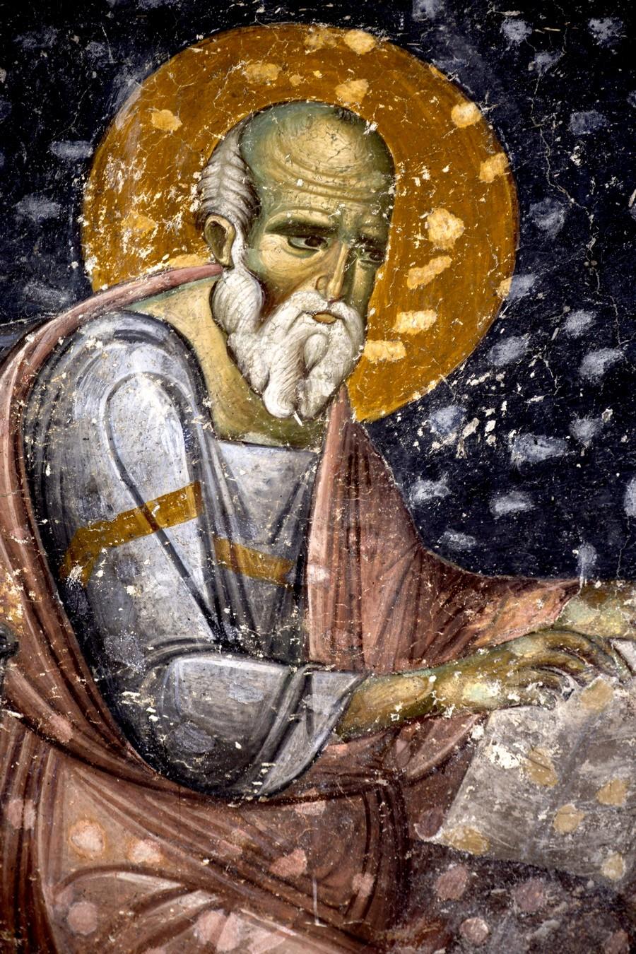 Святой Апостол и Евангелист Иоанн Богослов. Фреска церкви Святых Апостолов в монастыре Печская Патриархия, Косово и Метохия, Сербия. 1260 - 1263 годы. Фрагмент.