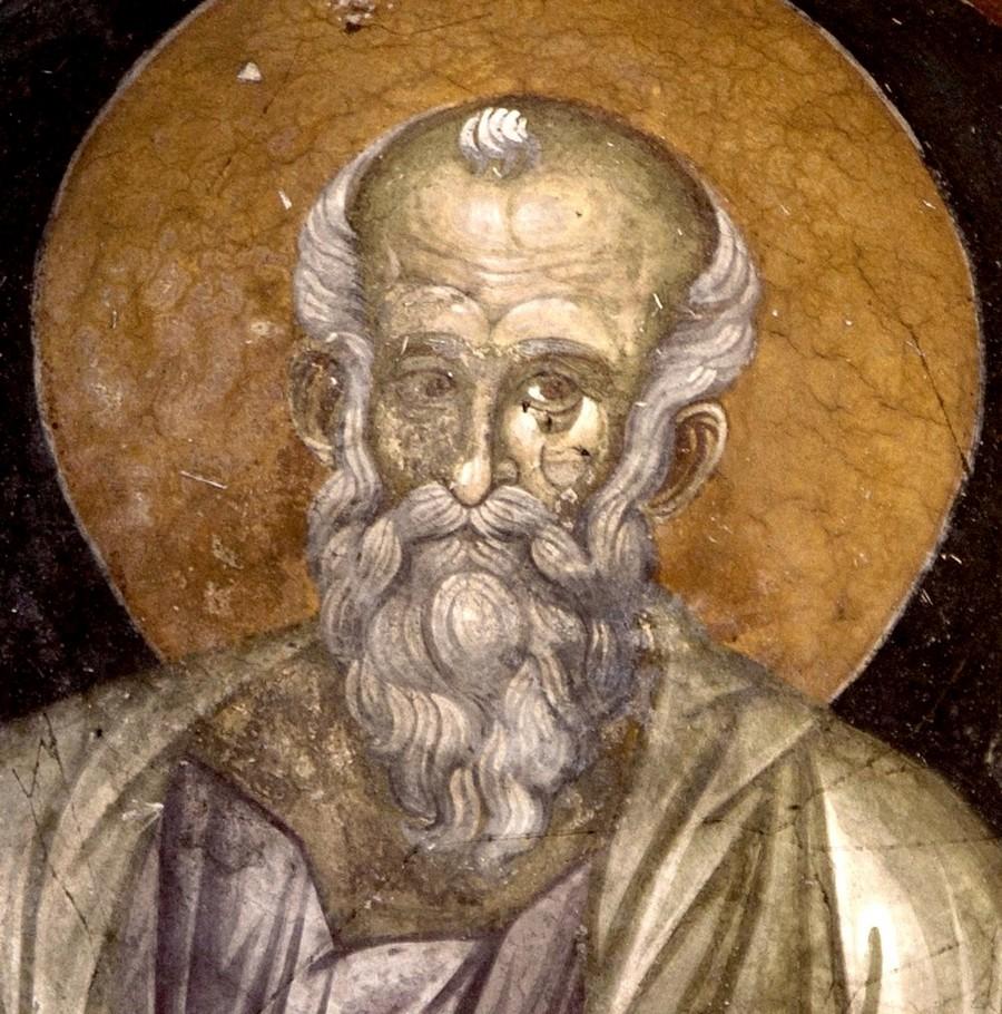 Святой Апостол и Евангелист Иоанн Богослов. Фреска монастыря Грачаница, Косово и Метохия, Сербия. Около 1320 года. Фрагмент.
