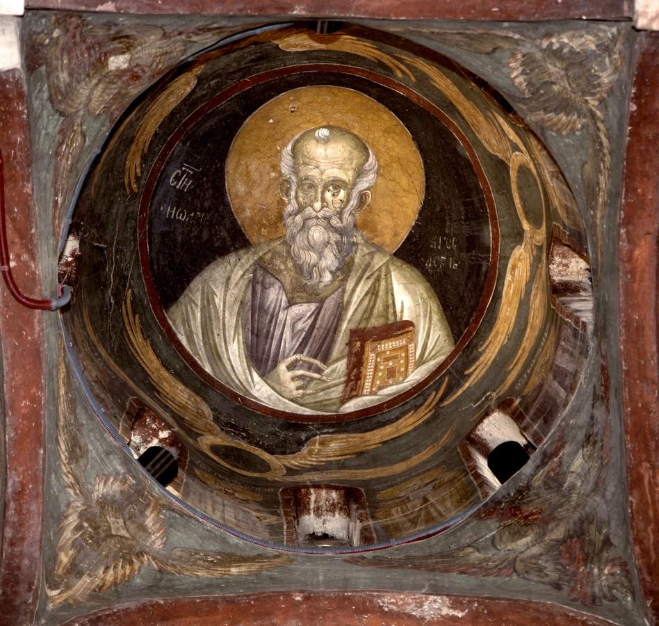 Святой Апостол и Евангелист Иоанн Богослов. Фреска монастыря Грачаница, Косово и Метохия, Сербия. Около 1320 года.