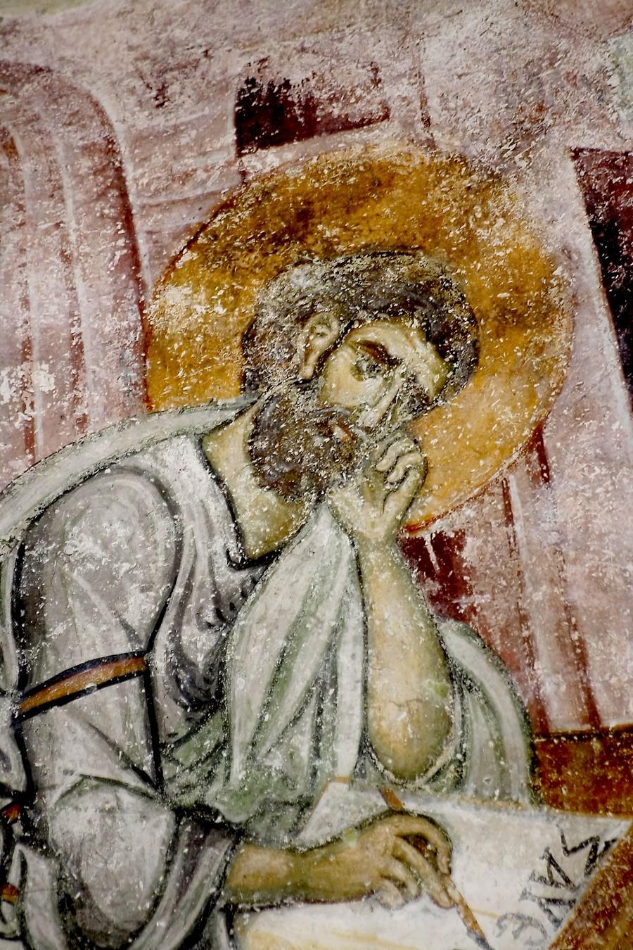 Святой Апостол и Евангелист Марк. Фреска церкви Святой Троицы в монастыре Сопочаны, Сербия. 1265 год. Фрагмент.