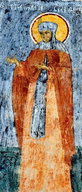 Святая Преподобная Пелагия Антиохийская, Елеонская, Палестинская. Фреска монастыря Сучевица, Румыния. Около 1600 года.