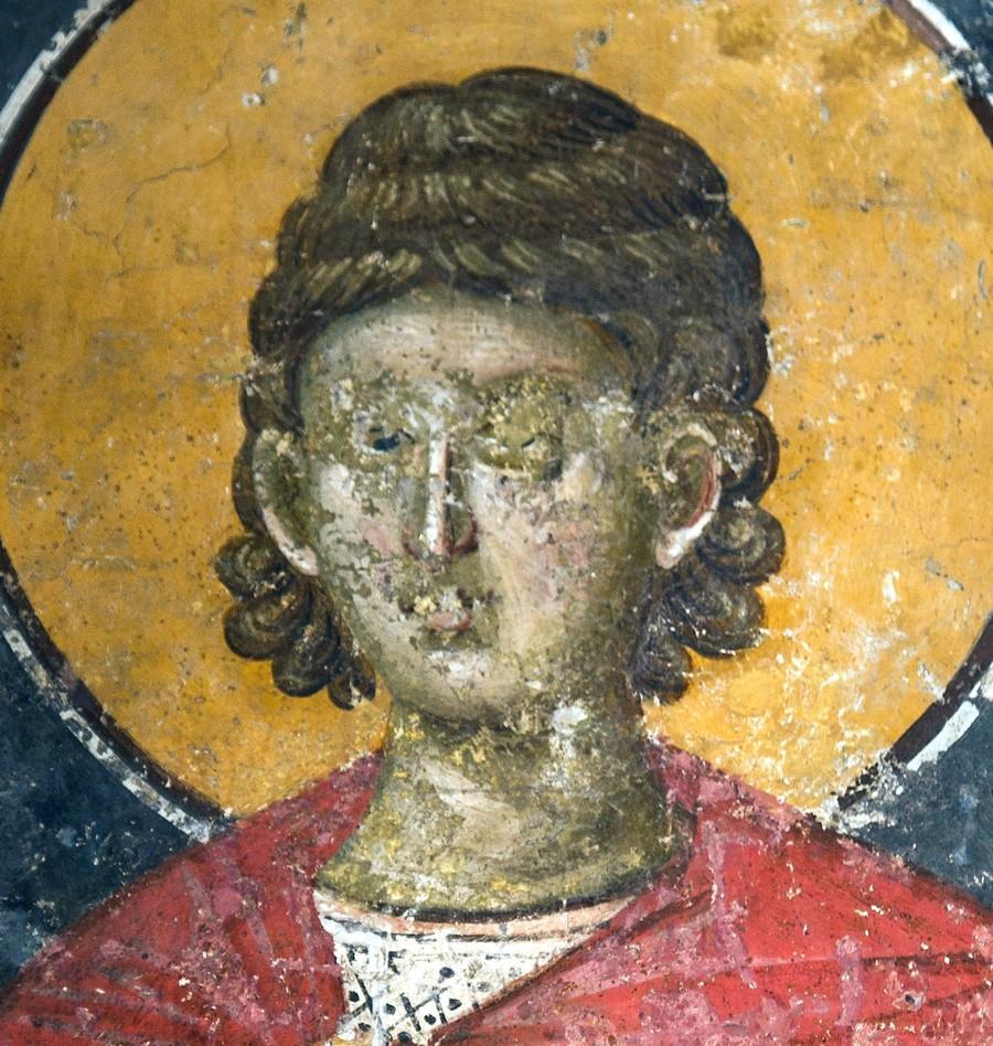Святой Мученик Андроник Аназарвский. Фреска монастыря Грачаница, Косово и Метохия, Сербия. Около 1320 года. Фрагмент.