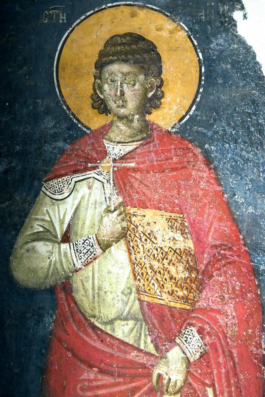 Святой Мученик Андроник Аназарвский. Фреска монастыря Грачаница, Косово и Метохия, Сербия. Около 1320 года.