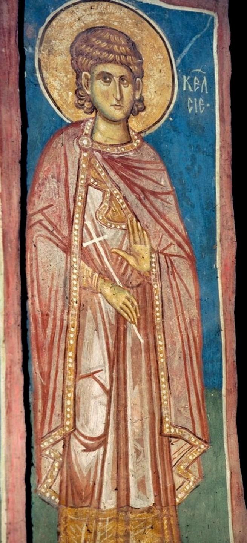 Святой Мученик Келсий Медиоланский. Фреска монастыря Высокие Дечаны, Косово и Метохия, Сербия. До 1350 года.