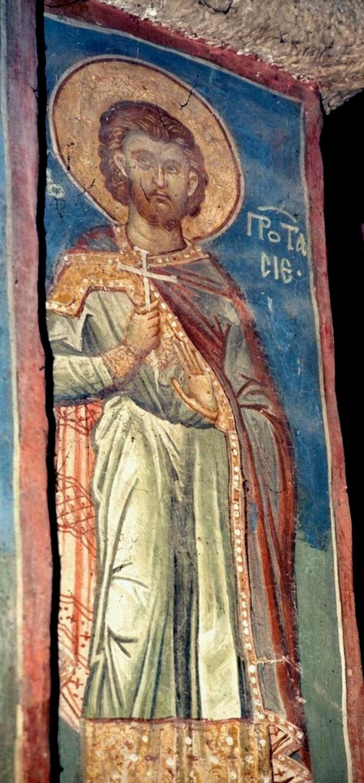 Святой Мученик Протасий Медиоланский. Фреска монастыря Высокие Дечаны, Косово и Метохия, Сербия. До 1350 года.