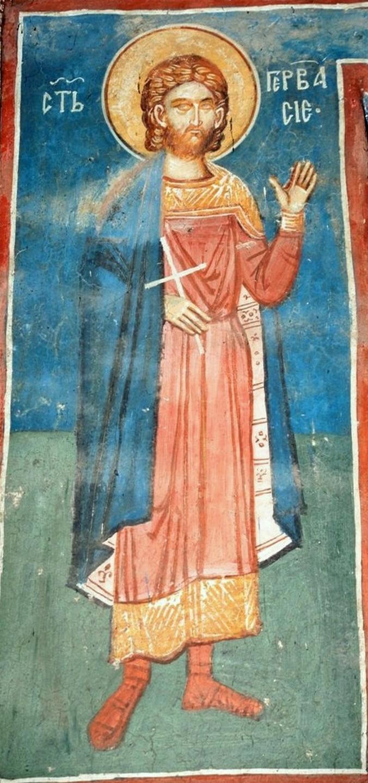 Святой Мученик Гервасий Медиоланский. Фреска монастыря Высокие Дечаны, Косово и Метохия, Сербия. До 1350 года.
