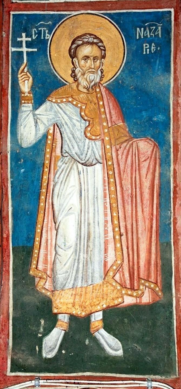 Святой Мученик Назарий Медиоланский. Фреска монастыря Высокие Дечаны, Косово и Метохия, Сербия. До 1350 года.