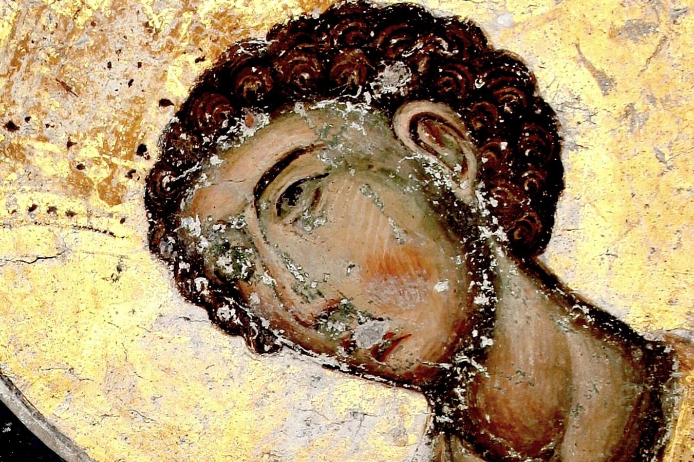 Души праведных в руце Божией. Святые Пророки Цари Давид и Соломон. Фреска церкви Святой Троицы в монастыре Манасия (Ресава), Сербия. До 1418 года. Фрагмент. Святой Пророк Царь Соломон.