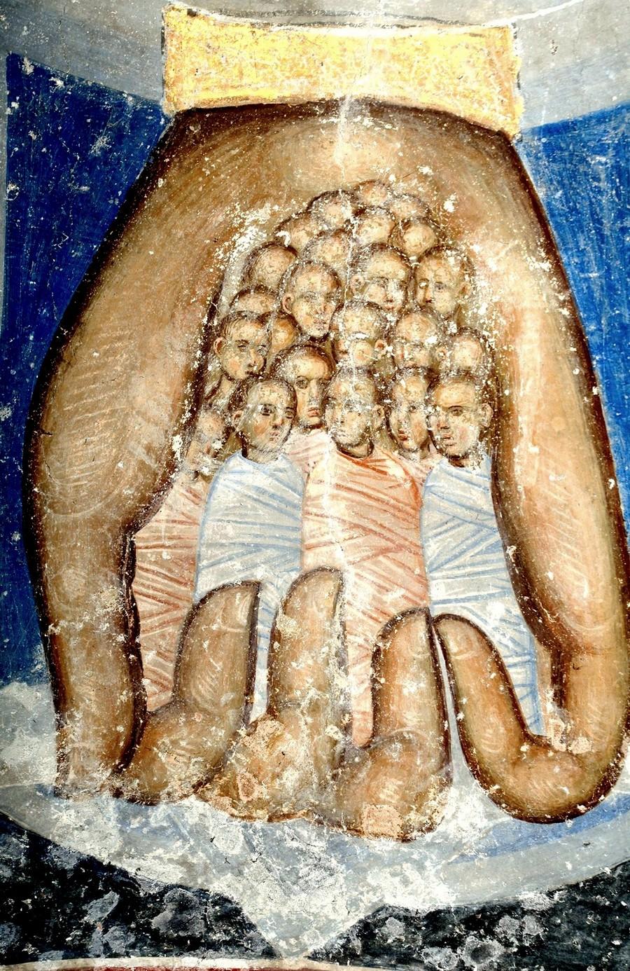 Души праведных в руце Божией. Святые Пророки Цари Давид и Соломон. Фреска церкви Святой Троицы в монастыре Манасия (Ресава), Сербия. До 1418 года. Фрагмент.