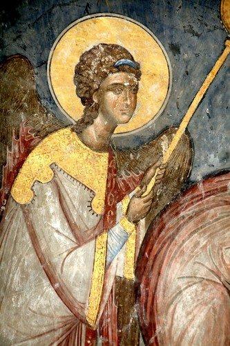 Евхаристия (Причащение Апостолов). Фреска церкви Святой Троицы в монастыре Манасия (Ресава), Сербия. До 1418 года.