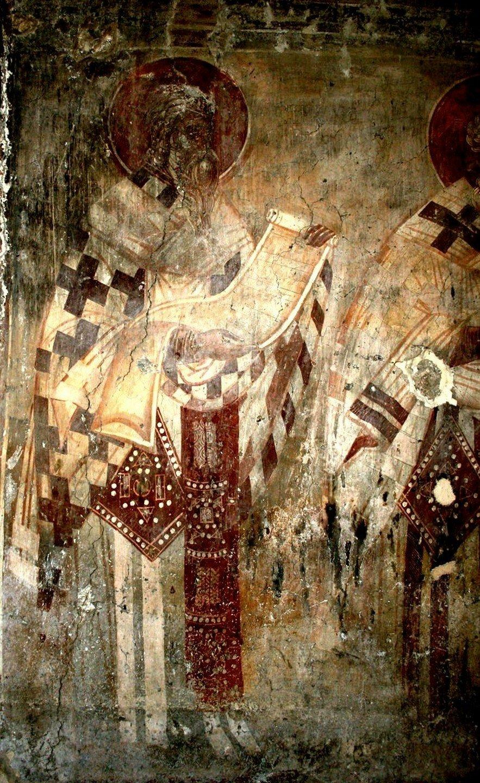 Святитель Амфилохий, Епископ Иконийский. Фреска церкви Введения во храм в Липляне, Косово и Метохия, Сербия. Около 1376 года.
