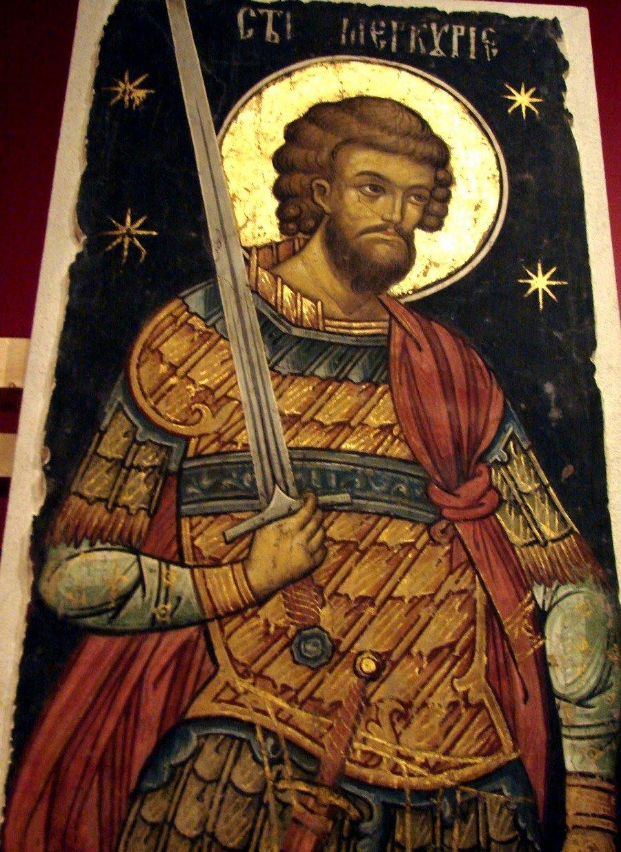 Святой Великомученик Меркурий Кесарийский. Фреска из монастыря Куртя де Арджеш, Румыния. 1526 год. Иконописец Добромир Зограф.