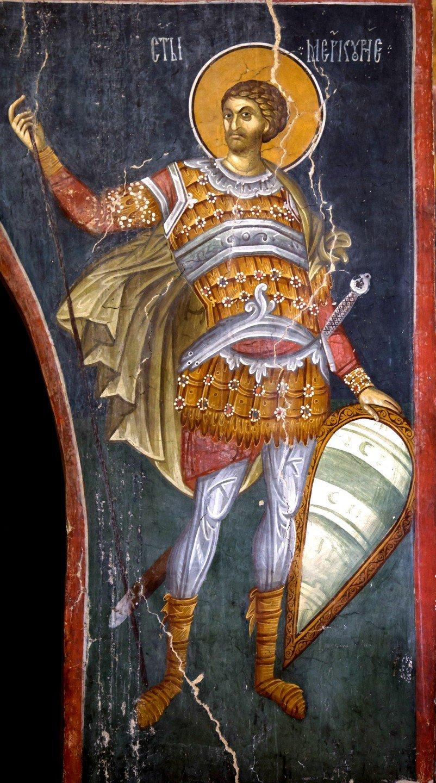 Святой Великомученик Меркурий Кесарийский. Фреска церкви Богоматери Одигитрии в монастыре Печская Патриархия, Косово и Метохия, Сербия. 1330-е годы.
