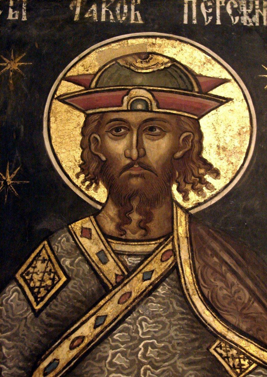 Святой Великомученик Иаков Персянин. Фреска из монастыря Куртя де Арджеш, Румыния. 1526 год. Иконописец Добромир Зограф.