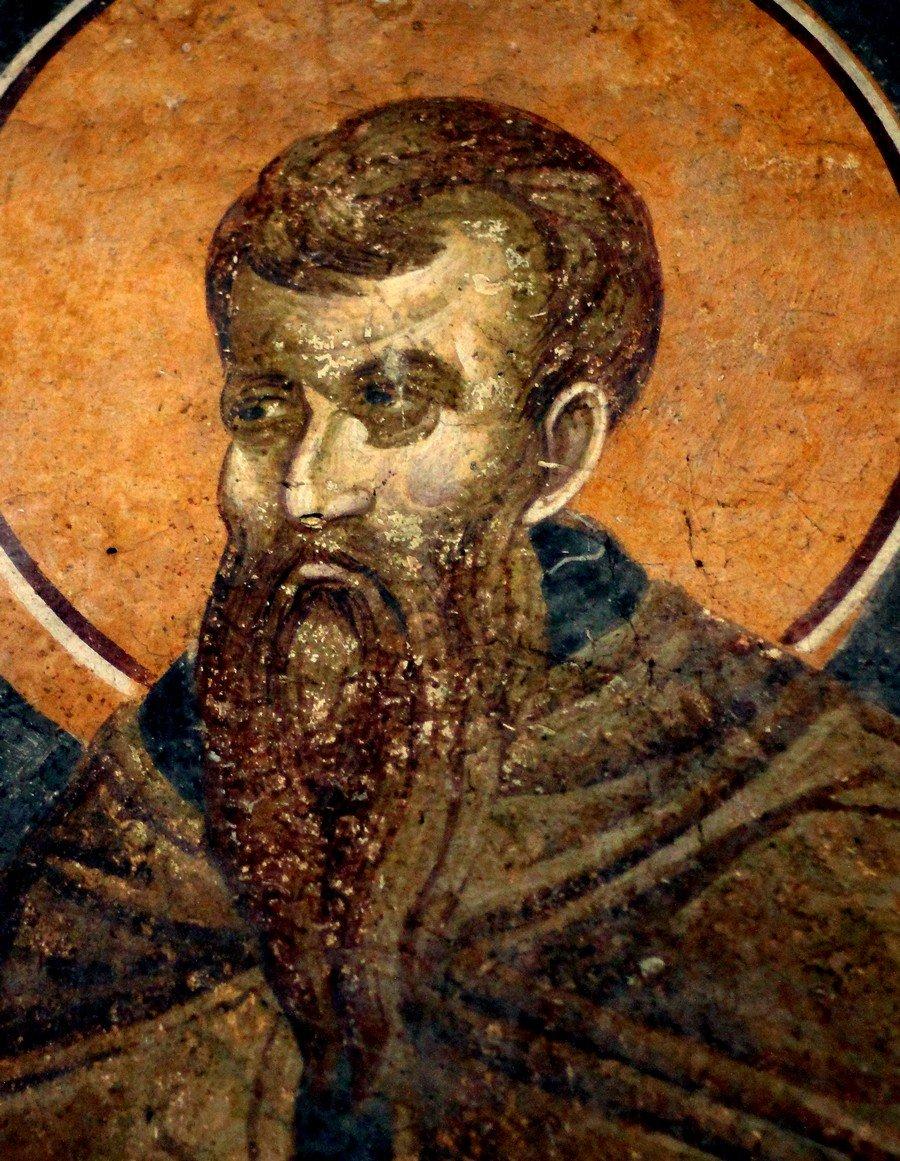 Святой Преподобномученик и Исповедник Стефан Новый. Фреска монастыря Грачаница, Косово и Метохия, Сербия. Около 1320 года.